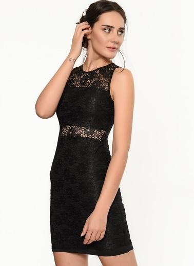 İroni Dantel Mini Elbise Siyah